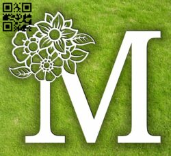 Letter M with flowers  E0014069 file cdr and dxf free vector download for laser cut