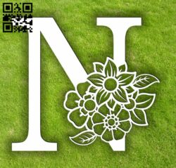 Letter N with flowers E0014070 file cdr and dxf free vector download for laser cut