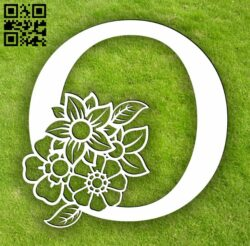 Letter O with flowers E0014071 file cdr and dxf free vector download for laser cut