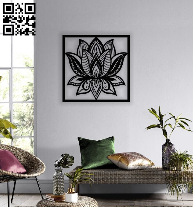 Lotus flower wall art E0013802 file cdr and dxf free vector download for laser cut plasma
