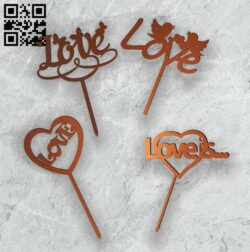 Love topper E0014020 file cdr and dxf free vector download for laser cut plasma