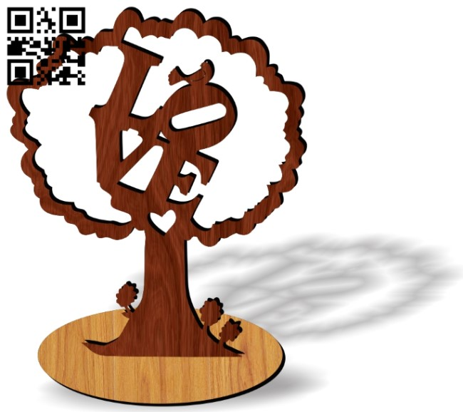 Love tree E0013745 file cdr and dxf free vector download for laser cut