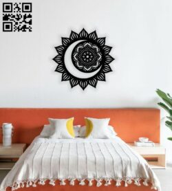 Mandala sun and moon E0014019 file cdr and dxf free vector download for laser cut plasma