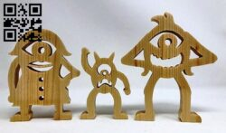 Monster family E0013990 file cdr and dxf free vector download for laser cut