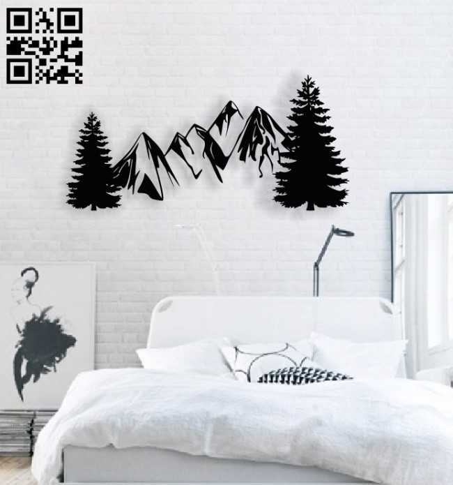 Mountain trees E0013858 file cdr and dxf free vector download for laser cut plasma