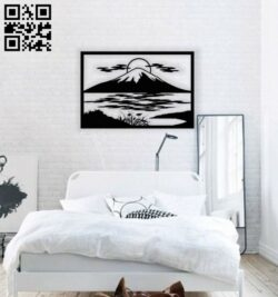 Mountain wall decor E0014047 file cdr and dxf free vector download for laser cut plasma