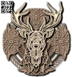 Multilayer deer E0013762 file cdr and dxf free vector download for laser engraving machine