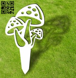 Mushroom ornament stakes garden yard E0013940 file cdr and dxf free vector download for laser cut plasma