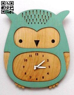 Owl clock E0013816 file cdr and dxf free vector download for laser cut