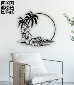 Palm with mountain wall decor E0013924 file cdr and dxf free vector download for laser cut plasma