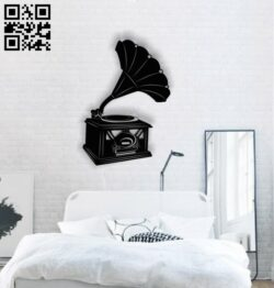 Phonograph wall decor E0013877 file cdr and dxf free vector download for laser cut plasma