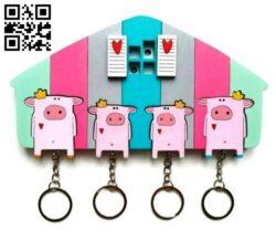 Pig key hanger E0014016 file cdr and dxf free vector download for laser cut plasma