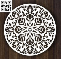Round ornament E0013981 file cdr and dxf free vector download for laser cut