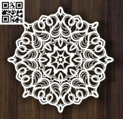 Round ornament E0013982 file cdr and dxf free vector download for laser cut