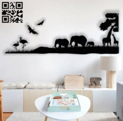 Safari Africa wall decor E0013875 file cdr and dxf free vector download for laser cut plasma