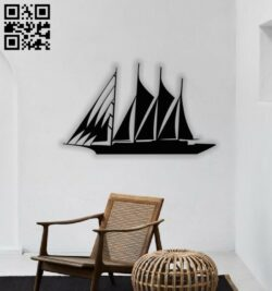 Sailboat wall decor E0013803 file cdr and dxf free vector download for laser cut plasma