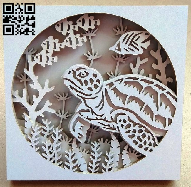 Sea turtle E0013798 file cdr and dxf free vector download for laser cut
