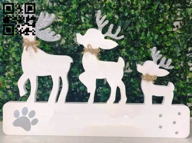 Three reindeer E0013973 file cdr and dxf free vector download for laser cut