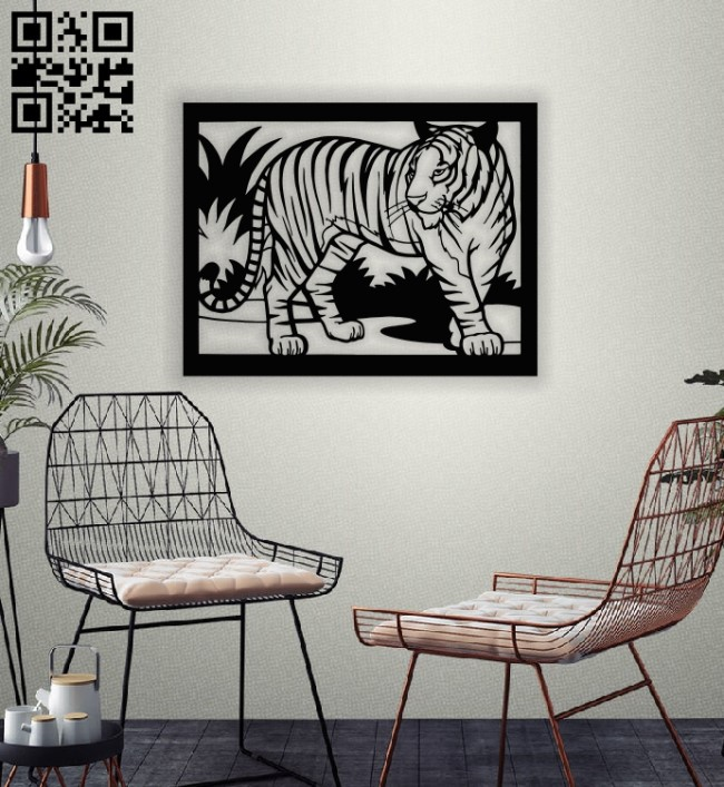 Tiger painting wall decor E0013967 file cdr and dxf free vector download for laser cut plasma