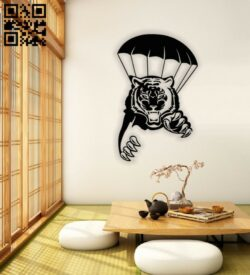Tiger with parachute E0013912 file cdr and dxf free vector download for laser cut plasma
