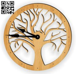 Tree clock E0014027 file cdr and dxf free vector download for laser cut