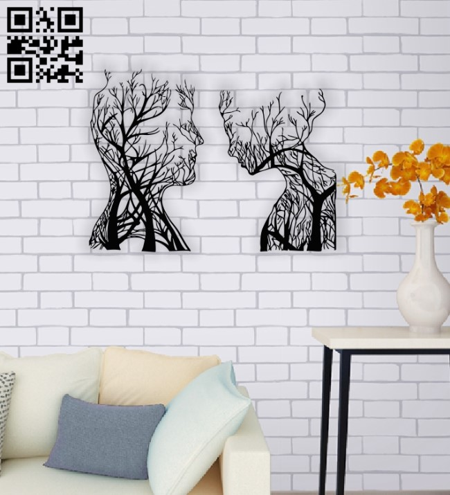 Tree couple face E0014012 file cdr and dxf free vector download for laser cut plasma