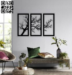 Tree wall decor E0014003 file cdr and dxf free vector download for laser cut plasma