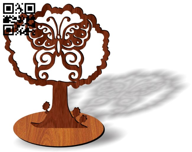 Tree with Butterfly E00137880 file cdr and dxf free vector download for laser cut plasma
