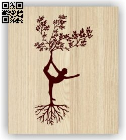 Tree with Yoga E0013954 file cdr and dxf free vector download for laser engraving machine