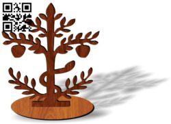 Tree with snacke E0013779 file cdr and dxf free vector download for laser cut plasma