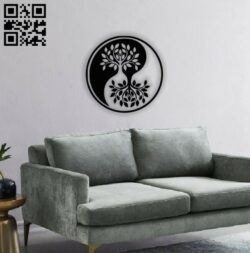 Tree ying yang E0013871 file cdr and dxf free vector download for laser cut plasma