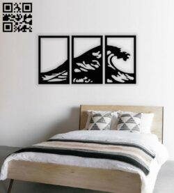 Wave wall decor E0013966 file cdr and dxf free vector download for laser cut plasma