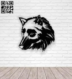 Wolf head E0013911 file cdr and dxf free vector download for laser cut plasma