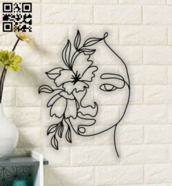 Woman face with flower E0013881 file cdr and dxf free vector download for laser cut