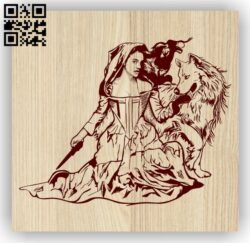 Woman with wolf E0013915 file cdr and dxf free vector download for laser engraving machine