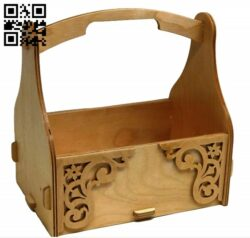 Wooden basket E0013979 file cdr and dxf free vector download for laser cut