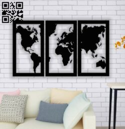 World map wall decor E0013882 file cdr and dxf free vector download for laser cut plasma