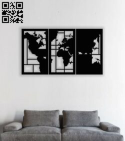 World map wall decor E0013896 file cdr and dxf free vector download for laser cut plasma