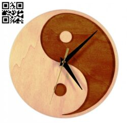 Yin and Yang clock E0013767 file cdr and dxf free vector download for laser cut