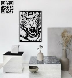 Angry tiger wall decor E0014406 file cdr and dxf free vector download for laser cut plasma