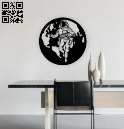Astronaut wall decor E0014338 file cdr and dxf free vector download for laser cut plasma