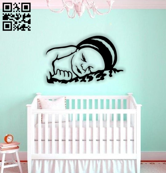 Baby sleeping E0014186 file cdr and dxf free vector download for laser cut plasma
