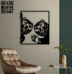 Bears wall decor E0014337 file cdr and dxf free vector download for laser cut plasma