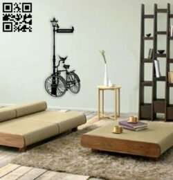 Bicycle wall decor E0014419 file cdr and dxf free vector download for laser cut plasma