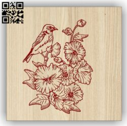 Bird with flowers E0014426 file cdr and dxf free vector download for laser engraving machine