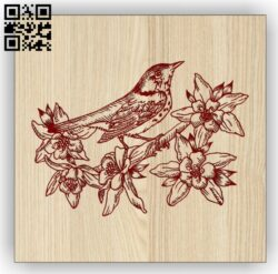 Bird with flowers E0014427 file cdr and dxf free vector download for laser engraving machine