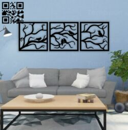 Birds in the tree E0014450 file cdr and dxf free vector download for laser cut plasma