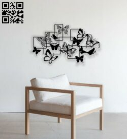 Butterflies wall decor E0014194 file cdr and dxf free vector download for laser cut plasma