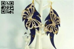Butterfly earrings E0014222 file cdr and dxf free vector download for laser cut
