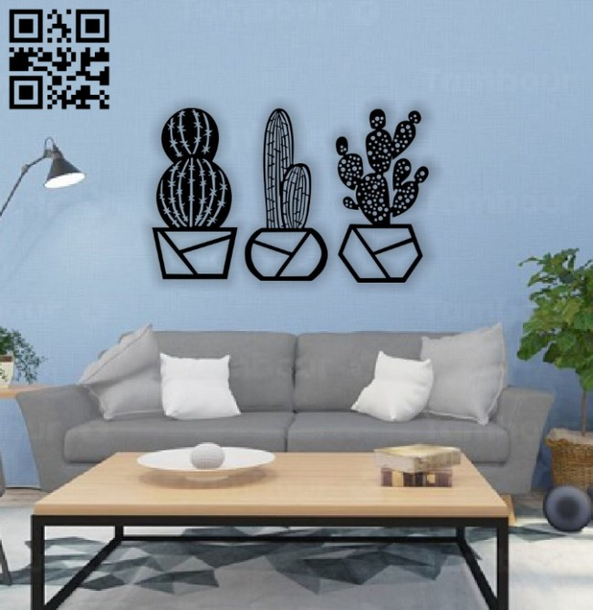 Cactus wall decor E0014322 file cdr and dxf free vector download for laser cut plasma